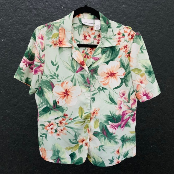 Vintage 80s Alfred Dunner Tropical Pastel Shirt
